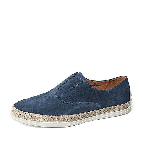 Belle/百丽春季专柜同款浅兰二层牛皮革男皮鞋B9M01AM6