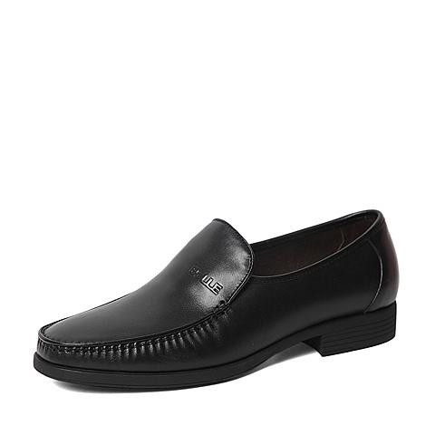 Belle/百丽春专柜同款黑色牛皮时尚商务儒雅男皮鞋4JR01AM6