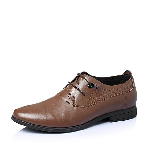 Belle/百丽夏季棕色牛皮男单鞋A2656BM6