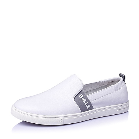 Belle/百丽夏季白色牛皮男休闲鞋Y1511BM6