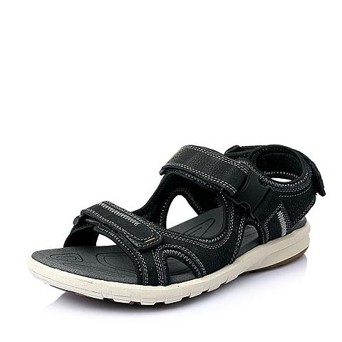 Belle/百丽夏季黑色磨砂牛皮革男皮凉鞋H1521BL6
