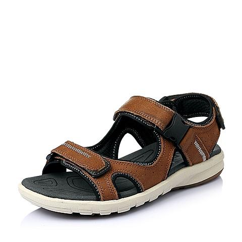 Belle/百丽夏季棕色磨砂牛皮革男皮凉鞋H1521BL6