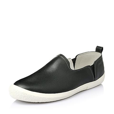 Belle/百丽2016夏季黑色牛皮革男休闲鞋AXJ05BM6