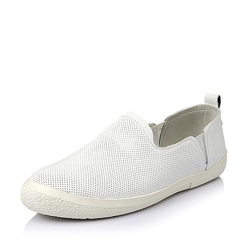 Belle/百丽夏季白色牛皮革男休闲鞋AXJ05BM6