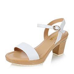 Belle/百丽夏专柜同款白色羊皮革知性优雅女凉鞋3ZFC9BL6