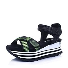 Belle/百丽夏专柜同款绿黑/黑色织物运动风女凉鞋BHEA3BL6