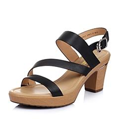 Belle/百丽夏季专柜同款黑色打蜡小牛皮革女凉鞋3ZFC3BL6