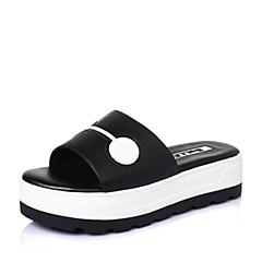 Belle/百丽夏黑牛皮革可爱时尚女鞋BKG33BT6