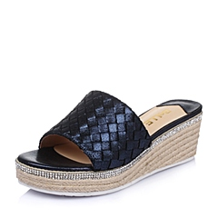 Belle/百丽夏季专柜同款深兰贴膜编织人造革女鞋BFUA9BT6