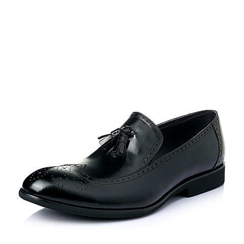 Belle/百丽夏季黑色打蜡水牛皮革男皮鞋L3605BM6