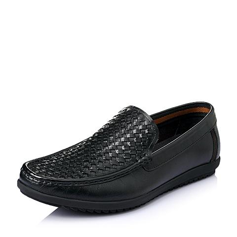 Belle/百丽夏季黑色牛皮革男休闲鞋FB116BM6