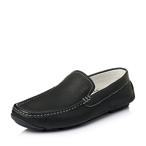 Belle/百丽夏季黑色牛皮时尚休闲男单鞋B1206BM6