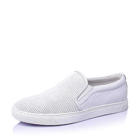 Belle/百丽2016夏季白色牛皮男休闲鞋B1425BM6