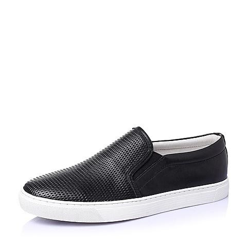 Belle/百丽夏季黑色牛皮男休闲鞋B1425BM6