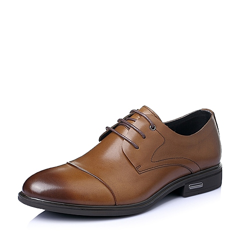 Belle/百丽2016夏季棕色牛皮革男皮鞋A1505BM6