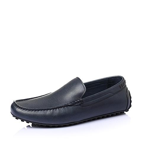 Belle/百丽夏季蓝色牛皮男单鞋C8901BM6