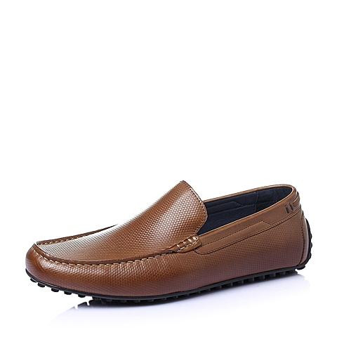 Belle/百丽夏季棕色牛皮男单鞋C8901BM6