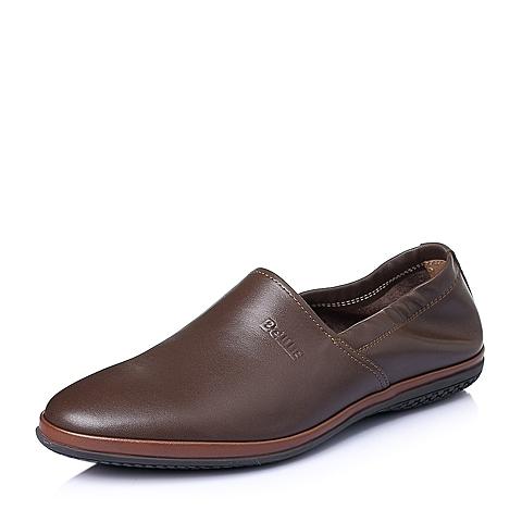 Belle/百丽夏季棕色打蜡牛皮男单鞋L1232BM6