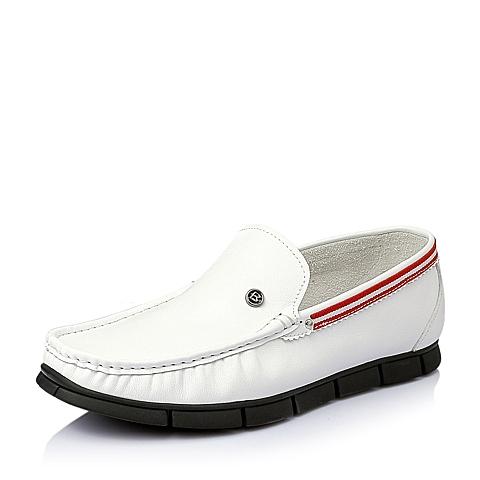 Belle/百丽夏季白色牛皮男休闲鞋X0891BM6