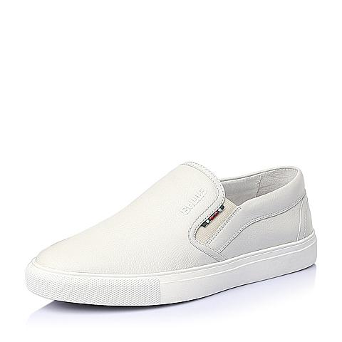 Belle/百丽夏季白色牛皮简约休闲男单鞋81516BM6