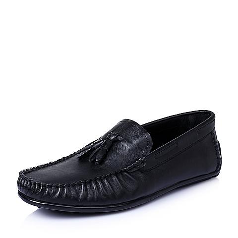 Belle/百丽夏季黑色擦色牛皮革男皮鞋30917BM6