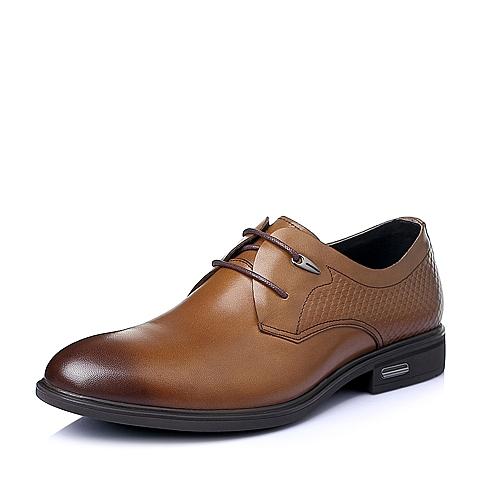 Belle/百丽夏季棕色牛皮男单鞋A1506BM6