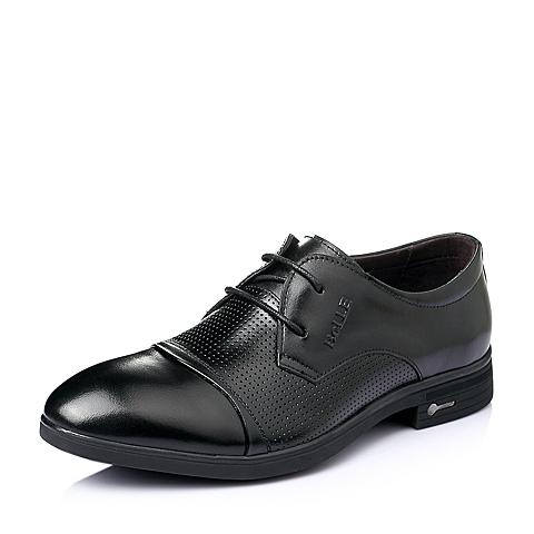 Belle/百丽夏季黑色牛皮男单鞋L0237BM6