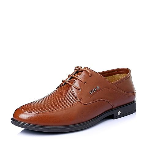 Belle/百丽2016夏季棕色牛皮革男休闲鞋A1578BM6