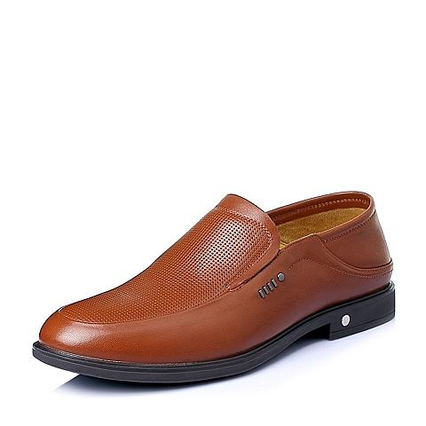 Belle/百丽夏季棕色牛皮革男休闲鞋A1579BM6