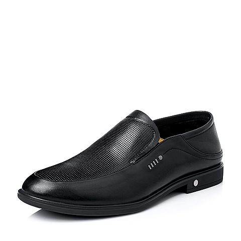 Belle/百丽夏季黑色牛皮革男休闲鞋A1579BM6