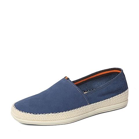 Belle/百丽春季专柜同款蓝色磨砂牛皮舒适男皮鞋3ZU01AM6