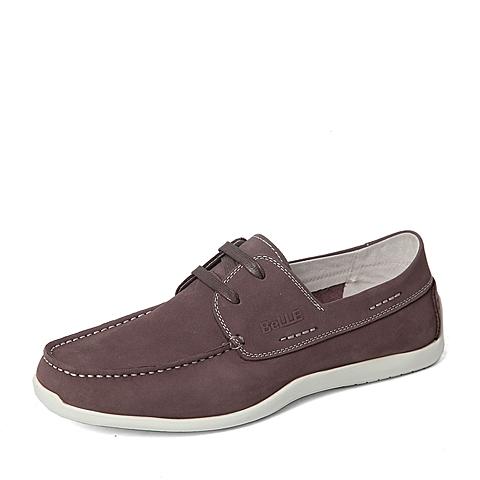 Belle/百丽春专柜同款棕色磨砂牛皮舒适活力男皮鞋4KB01AM6