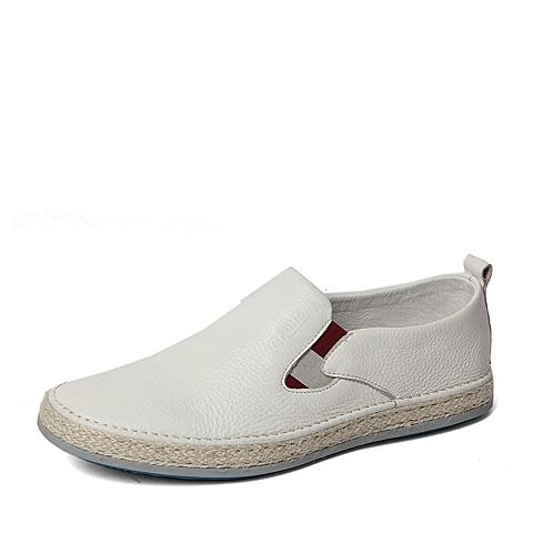 Belle/百丽春季专柜同款白色牛皮时尚舒适男休闲鞋4KE01AM6