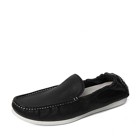 Belle/百丽春季专柜同款黑色牛皮革男皮鞋B2S01AM6