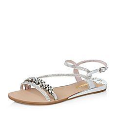 Belle/百丽夏季专柜同款银色牛皮革/绒布女凉鞋Q2K1DBL6