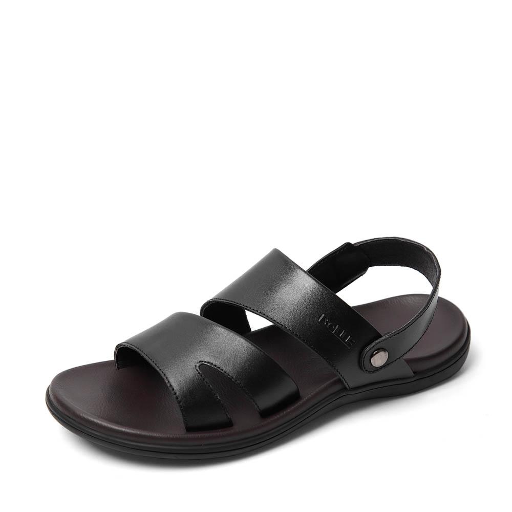 Belle/百丽2016夏季专柜同款黑色牛皮男皮凉鞋4LK01BL6 专柜1