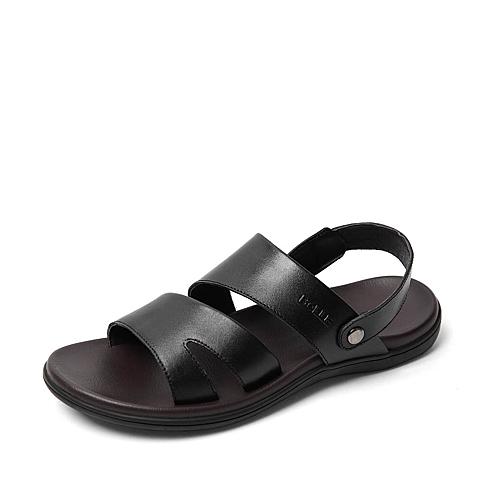 Belle/百丽夏季专柜同款黑色牛皮男皮凉鞋4LK01BL6