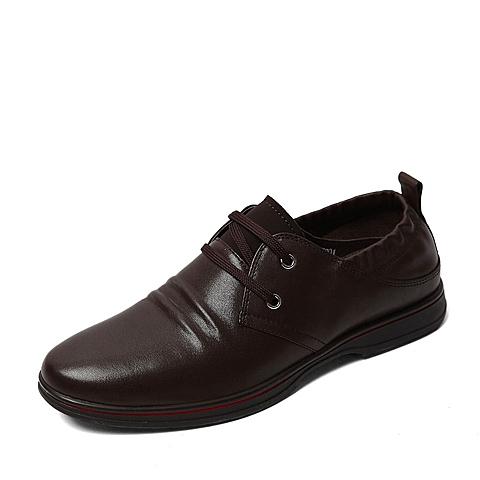 Belle/百丽春季专柜同款棕色牛皮男单鞋3ZS01AM6  专柜1
