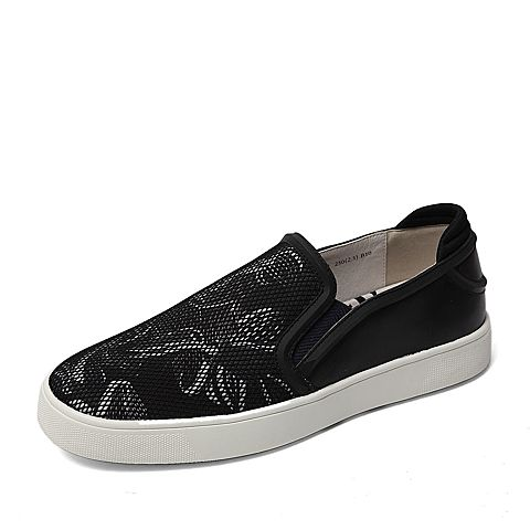 Belle/百丽春季专柜同款黑色弹力网布男单鞋38421AM6  专柜1