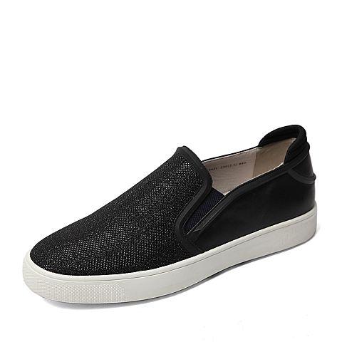 Belle/百丽春季专柜同款黑色贴网亮片布男单鞋38421AM6