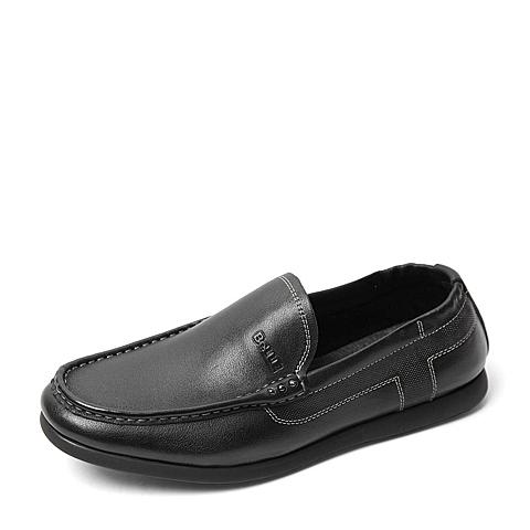 Belle/百丽夏季专柜同款黑色牛皮男皮鞋4KJ01BM6