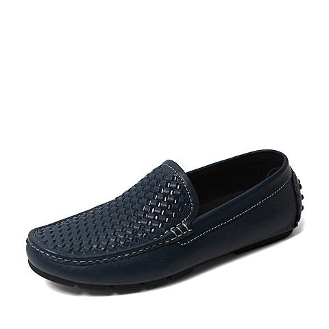 Belle/百丽夏季专柜同款蓝色牛皮男皮鞋4KH01BM6