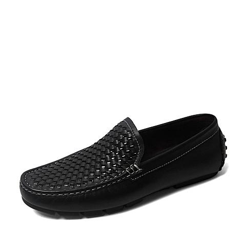 Belle/百丽2016夏季专柜同款黑色牛皮男皮鞋4KH01BM6 专柜1