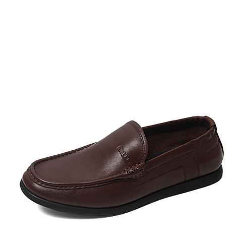 Belle/百丽夏季专柜同款棕色牛皮男皮鞋4KJ01BM6
