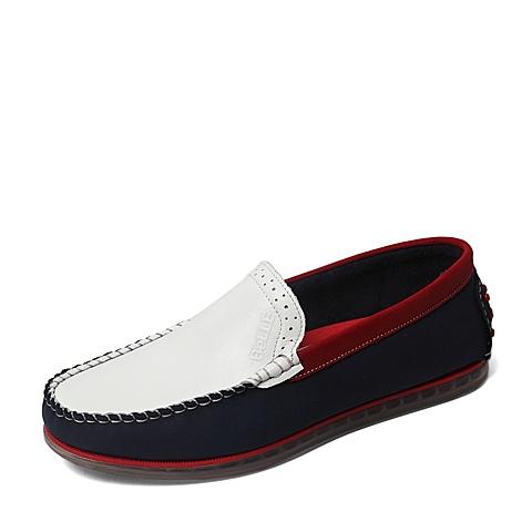 Belle/百丽夏季专柜同款白色/蓝色磨砂牛皮男休闲鞋4LL02BM6
