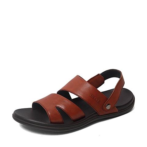 Belle/百丽夏季专柜同款棕色牛皮男凉鞋4LK01BL6
