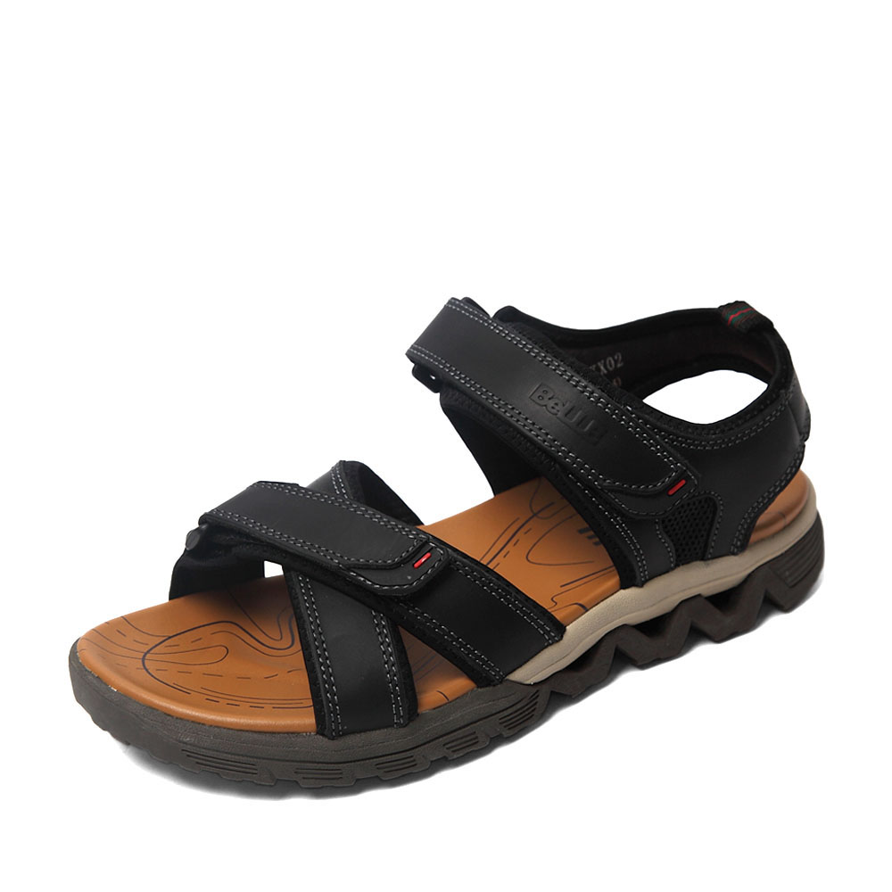 Belle/百丽2016夏季专柜同款黑色牛皮男凉鞋4KX02BL6 专柜1