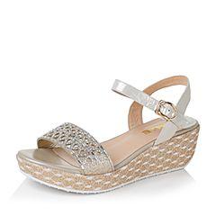 Belle/百丽夏专柜同款金色布纹羊皮革/人造革女凉鞋Q1X1DBL6
