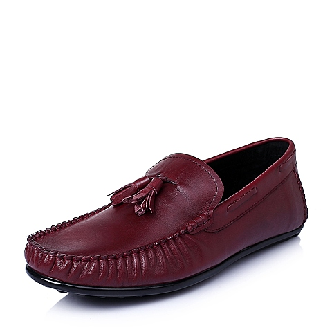 Belle/百丽夏季红色擦色牛皮革男皮鞋30917BM6