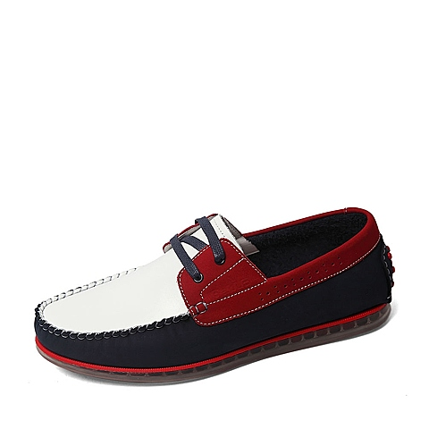 Belle/百丽夏季专柜同款白/蓝/红磨砂牛皮男休闲鞋4LL03BM6